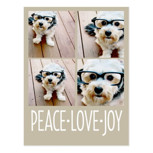 Peace Love Joy Taupe Holiday Photo Collage Postcard