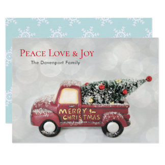 Peace Love & Joy Toy Truck Merry Christmas Card