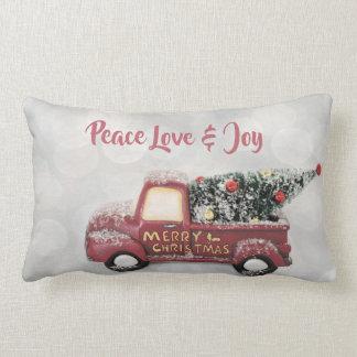 Peace Love & Joy Toy Truck Merry Christmas Lumbar Pillow