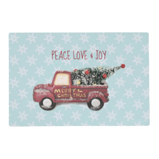Peace Love & Joy Toy Truck Merry Christmas Placemat