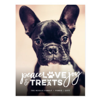 Peace Love Joy Treats Dog Holiday Photo Postcard