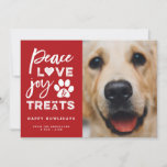 """Peace Love Joy Treats Dog Lover Holiday Photo Card<br><div class=""""desc"""">Designed by fat*fa*tin. Easy to customize with your own text, photo or image. For custom requests, please contact fat*fa*tin directly. Custom charges apply. Designed by fat*fa*tin. Easy to customize with your own text, photo or image. For custom requests, please contact fat*fa*tin directly. Custom charges apply. www.zazzle.com/fat_fa_tin www.zazzle.com/color_therapy www.zazzle.com/fatfatin_blue_knot www.zazzle.com/fatfatin_red_knot www.zazzle.com/fatfatin_mini_me...</div>"""