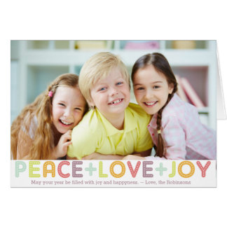 PEACE LOVE JOY TYPOGRAPHY HOLIDAYS PHOTO CARD