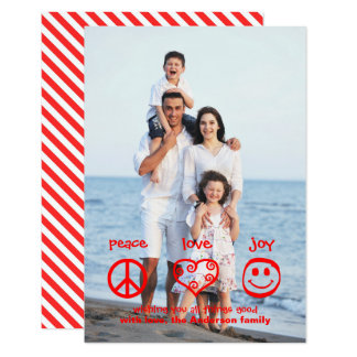 Peace, Love, Joy Vertical - 3x5 Christmas Card