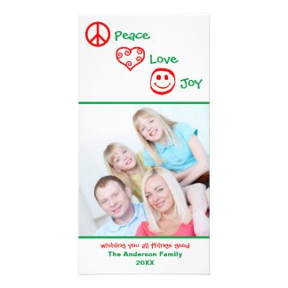 Peace, Love, Joy Vertical - Photocard Card