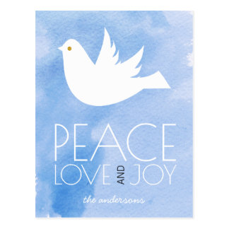 Peace love joy watercolor and white dove Christmas Postcard
