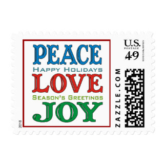 Peace Love Joy White Holiday Postage