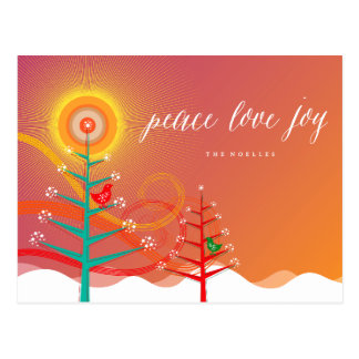 Peace Love Joy Winter Trees Snow Chicks Postcard