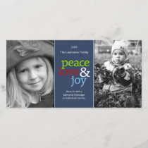 Peace Love & Joy with blue red and green Holiday Card