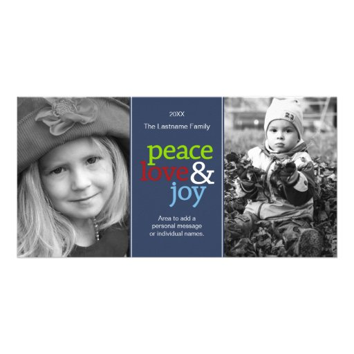 Peace Love & Joy with blue red and green Photo Card