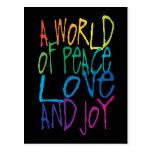 Peace, Love, Joy Words Postcard