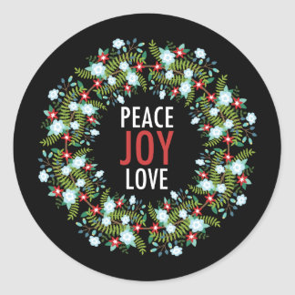 Peace Love Joy Wreath on Black Background Classic Round Sticker