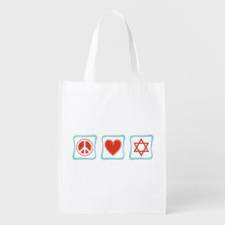 Peace Love Judaism Squares Grocery Bag