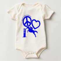 PEACE-LOVE-JUMPING BABY BODYSUIT
