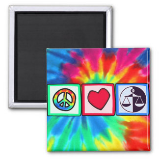 Peace, Love, Justice 2 Inch Square Magnet