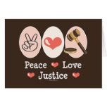 Peace Love Justice Blank Greeting Card