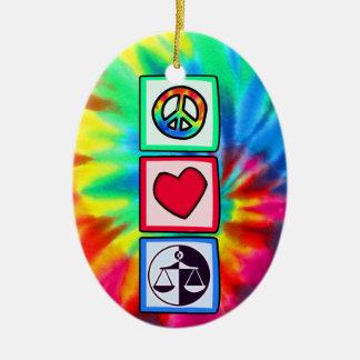 Peace, Love, Justice Ceramic Ornament