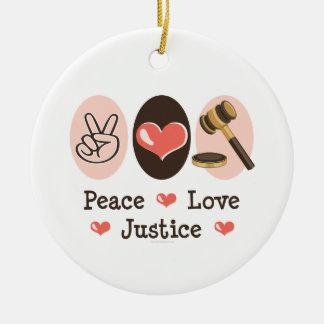 Peace Love Justice Ornament