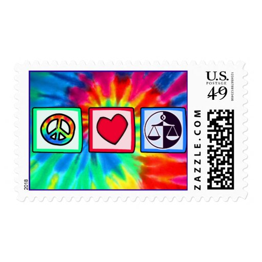 Peace, Love, Justice Postage Stamp