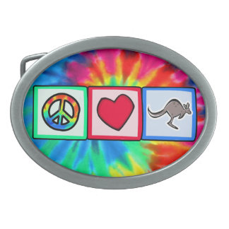 Peace, Love, Kangaroos Oval Belt Buckles