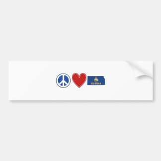 Peace Love Kansas Bumper Sticker