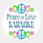 Peace Love Karaoke Round Sticker