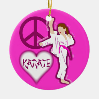 Peace Love Karate Girl Customize Personalized Ceramic Ornament