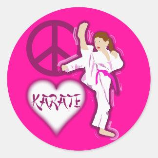 Peace Love Karate Girl Customize Personalized Classic Round Sticker
