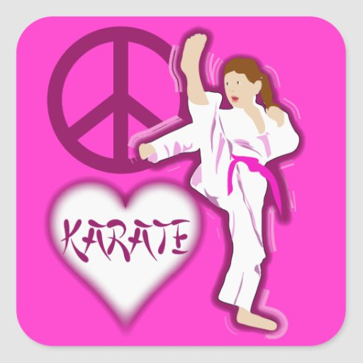 Peace Love Karate Girl Customize Personalized Square Stickers