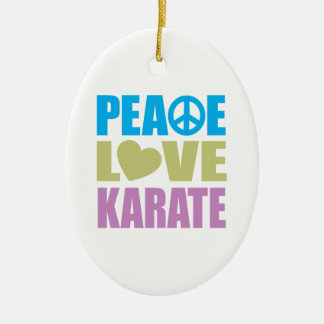 Peace Love Karate Double-Sided Oval Ceramic Christmas Ornament