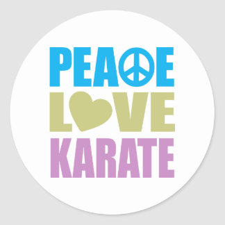 Peace Love Karate Classic Round Sticker
