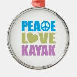 Peace Love Kayak Ornament