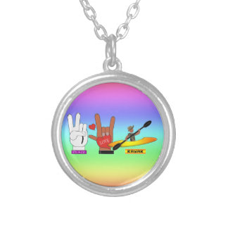 PEACE LOVE KAYAK SILVER PLATED NECKLACE