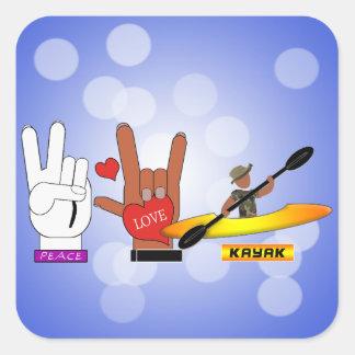 PEACE LOVE KAYAK SQUARE STICKER