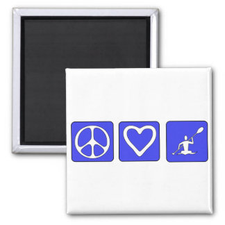 Peace Love Kayaking 2 Inch Square Magnet