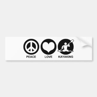 Peace Love Kayaking Bumper Sticker