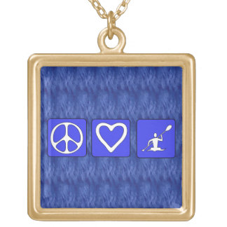 Peace Love Kayaking Gold Plated Necklace