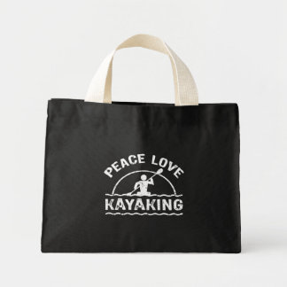 Peace Love Kayaking Mini Tote Bag