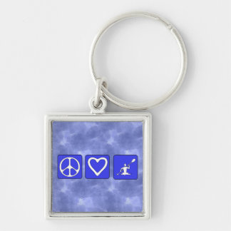 Peace Love Kayaking Silver-Colored Square Keychain