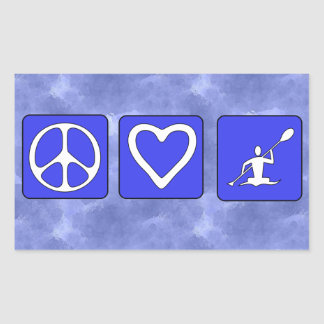 Peace Love Kayaking Rectangular Sticker