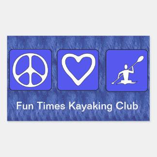 Peace Love Kayaking Rectangular Stickers