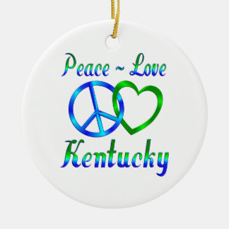 Peace Love Kentucky Christmas Tree Ornament