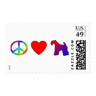 Peace Love Kerry Blue Terriers Postage