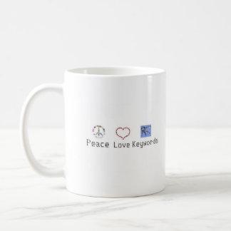 Peace, Love, Keywords Mug