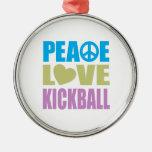 Peace Love Kickball Ornament