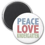 Peace Love Kindergarten 2 Inch Round Magnet
