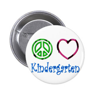 Peace Love Kindergarten School Kid Grade Teacher Pinback Button