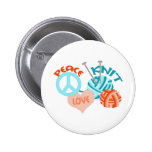 PEACE LOVE KNIT 2 INCH ROUND BUTTON