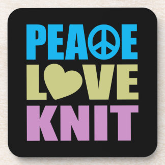Peace Love Knit Beverage Coaster