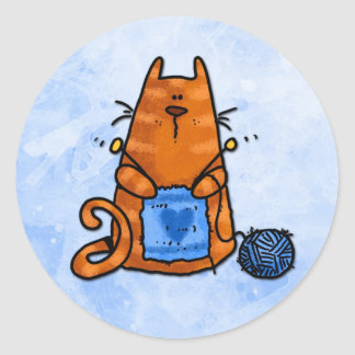 peace love knit classic round sticker